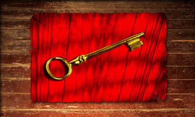 Holzplakat - Goldschlüssel