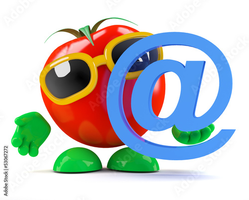 Tomato with email symbol