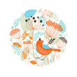 Floral illustration with the bird on the white background