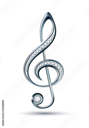 Silver treble clef with diamonds