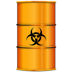 Orange barrel with bioi hazard sign