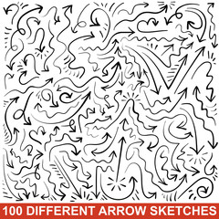 Hand drawn arrow sketches