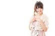 beautiful asian woman wearing dress on white background