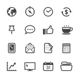 Business and Office Icons with White Background