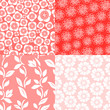 Floral seamless patterns set in shades of red, vector