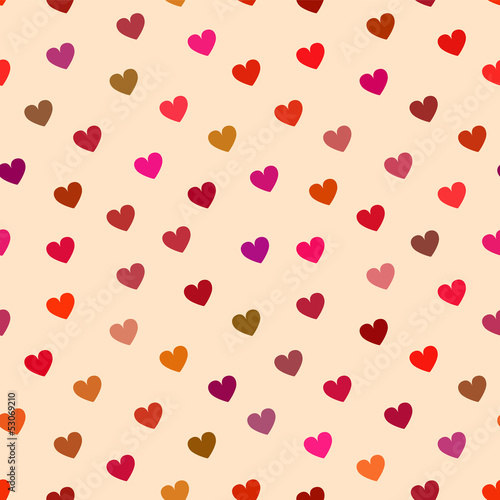 Simple hearts seamless pattern in pink, vector