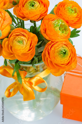 bouquet of ranunculus flowers close up