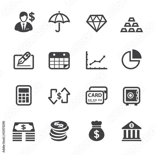 Fototapeta Finance Icons with White Background