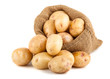 Ripe potatoes in a burlap bag - 53070616