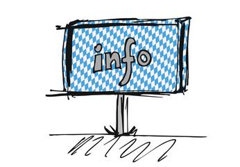 info - Schild mit bayrischem Muster