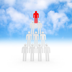 Pyramid of white abstract 3d people with red leader