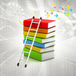 Colorful books and ladder