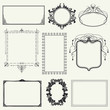 Set of vintage frames and design elements - vector illustration