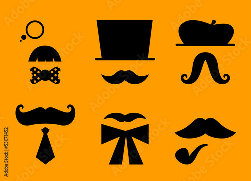 Mustaches and hats retro accessories isolated on orange