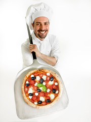 chef shows his delicious pizza on the shovel