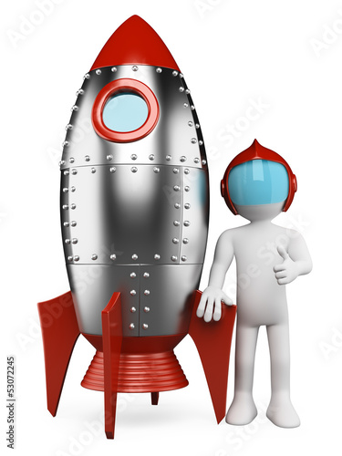 3D white people. Astronaut with spaceship