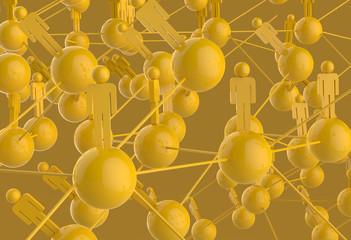 3d yellow human social network