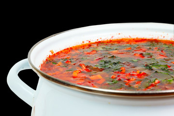 casserole with fresh hot borsch