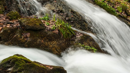 Fast river in mountains time-lapse
