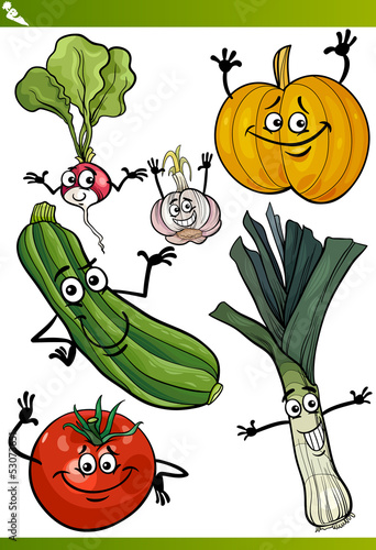 vegetables cartoon illustration set