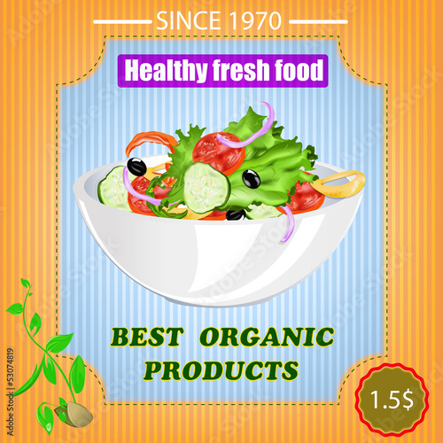 Tasty fresh vegetable food poster.Vector illustration