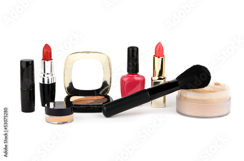 Cosmetic set on a white background
