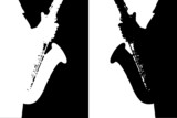 Black and white silhouette of the saxophone.