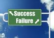 Success failure road sign board