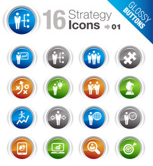 Glossy Buttons - Business strategy and management icons