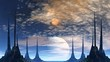 Towers of aliens, gas giant and moon