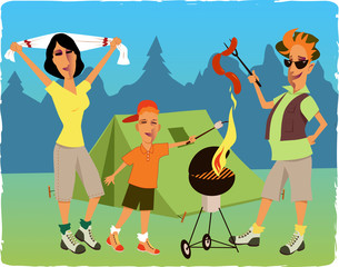 Family camping and barbecuing