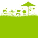 Garden Barbecue Background Green
