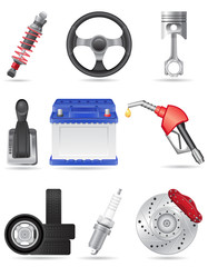 set icons of car parts vector illustration