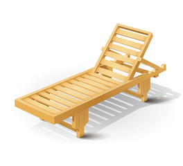 wooden beach bed vector illustration isolated on white
