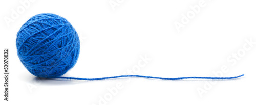 Blue knitting yarn clew