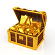 Treasure chest filled with gold ingots