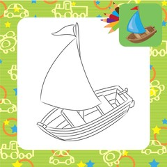 Sailboat. Coloring book. Vector illustration