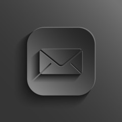 Mail icon - vector black app button