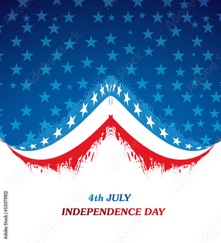 4th july american independence day flag grunge wave vector desig