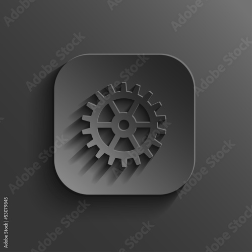 Gear icon - vector black app button
