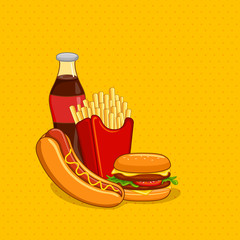 vector illustration of fastfood with soft drink