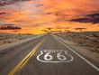 Leinwanddruck Bild - Route 66 Pavement Sign Sunrise Mojave Desert
