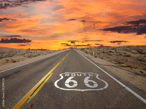 Poster Route 66 Pavement Sign Sunrise Mojave Desert