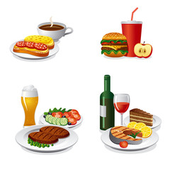 daily meals icon set