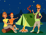 Family sitting at campfire at night on a campsite poster
