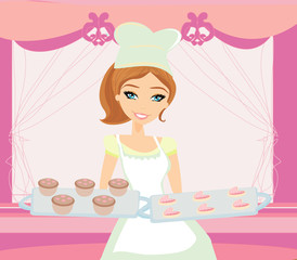 beautiful saleswoman in a bakery