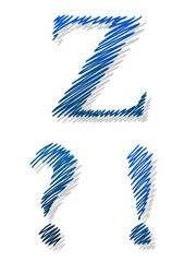 Doodle ballpoint alphabet letter Z exclamation