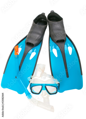 Mask, snorkel and flippers