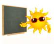 Sunshine points to the blackboard