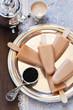 Black tea ice cream, selective focus
